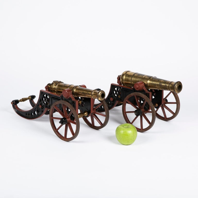 2 Victorian Bronze and Iron Table Cannon For Sale 9