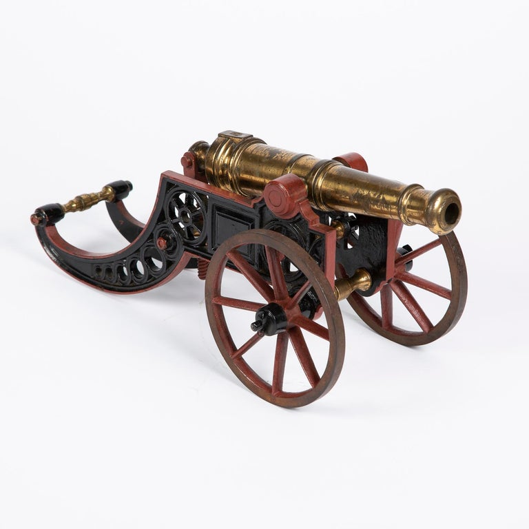 2 Victorian Bronze and Iron Table Cannon In Good Condition For Sale In London, GB