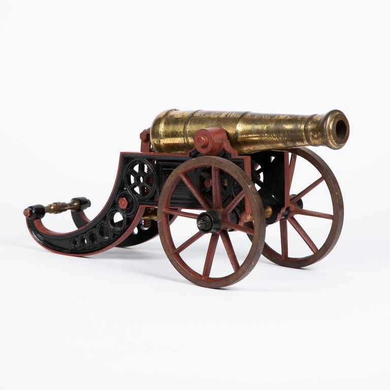 19th Century 2 Victorian Bronze and Iron Table Cannon For Sale