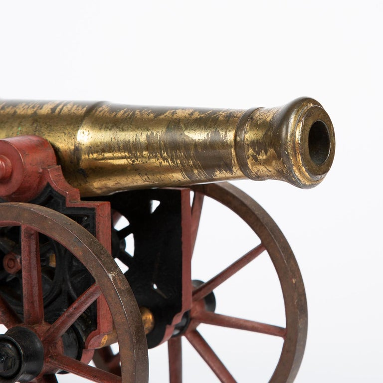 2 Victorian Bronze and Iron Table Cannon For Sale 2
