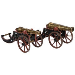 2 Victorian Bronze and Iron Table Cannon