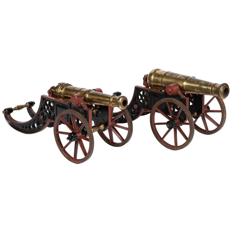 2 Victorian Bronze and Iron Table Cannon For Sale