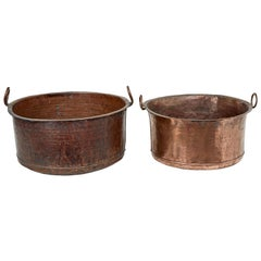 2 Victorian Large Copper Cooking Vessels
