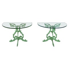 2 Vintage Boho Chic French Demilune Cast Iron & Glass Side Entry Console Tables