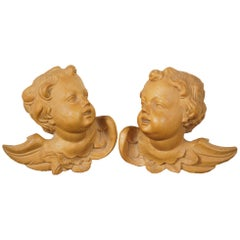 2 Vintage Carved Wood Putto Putti Angel Cherub Head Figural Wall Hanging Busts