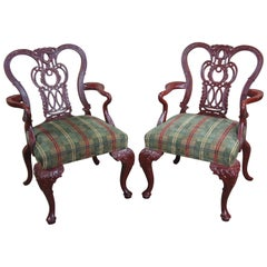 2 Vintage Century Furniture Chippendale Gooseneck Red Mahogany Arm Accent Chairs