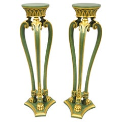 2 Vintage French Regency Neoclassical Style Green & Gold Paw Foot Italian Stands