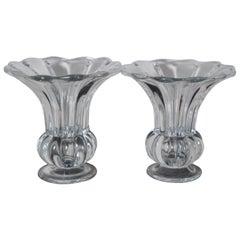 2 Vintage Heisey Crystolite Crystal Flared Mouth Flower Bud Vase Pair