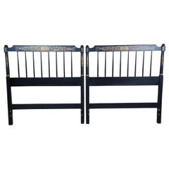 2 Vintage Hitchcock Black Harvest Shaker Style Stenciled Twin Bed Headboards