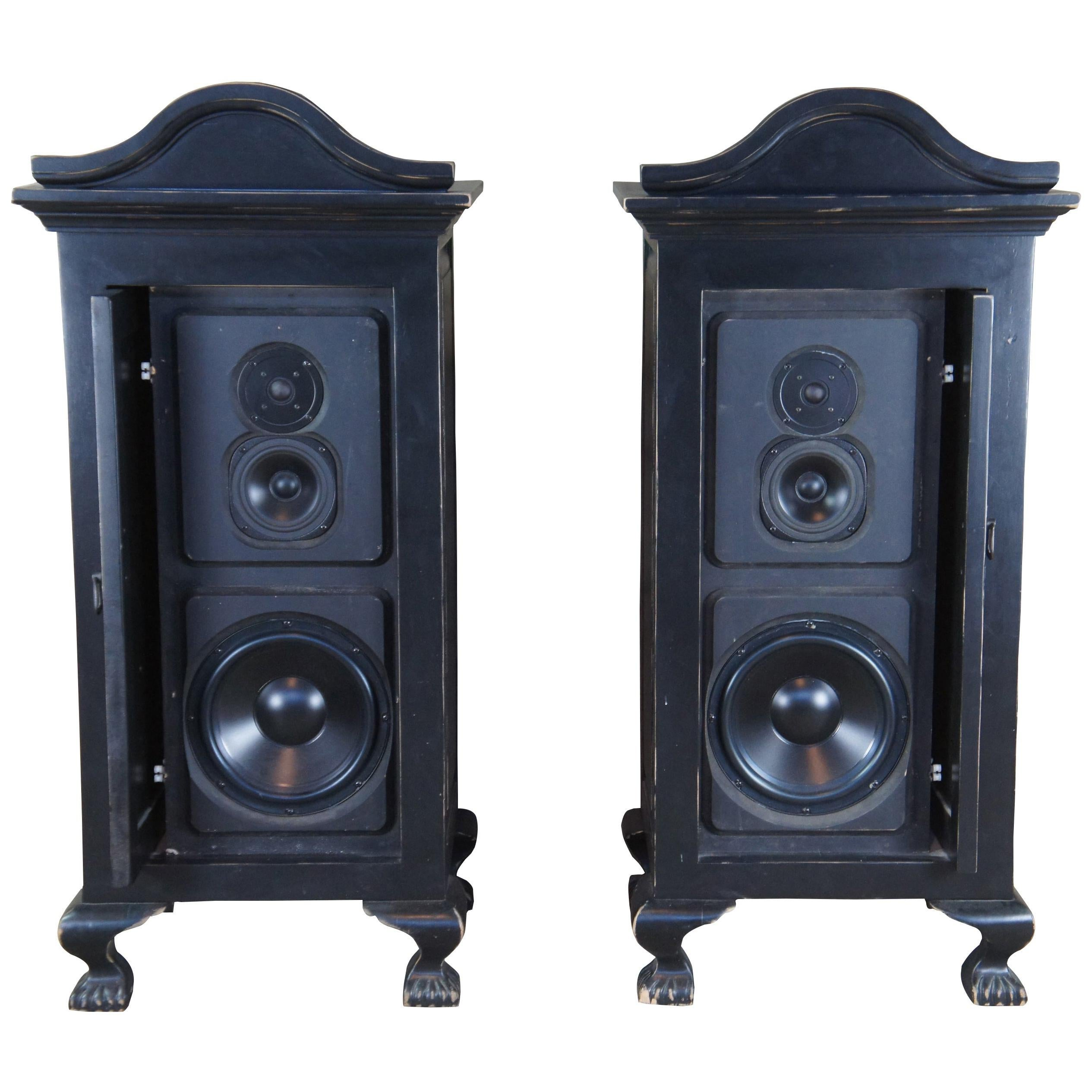 2 Vintage Innovative Audio Black French Country Cabinet Speaker Tower Pair