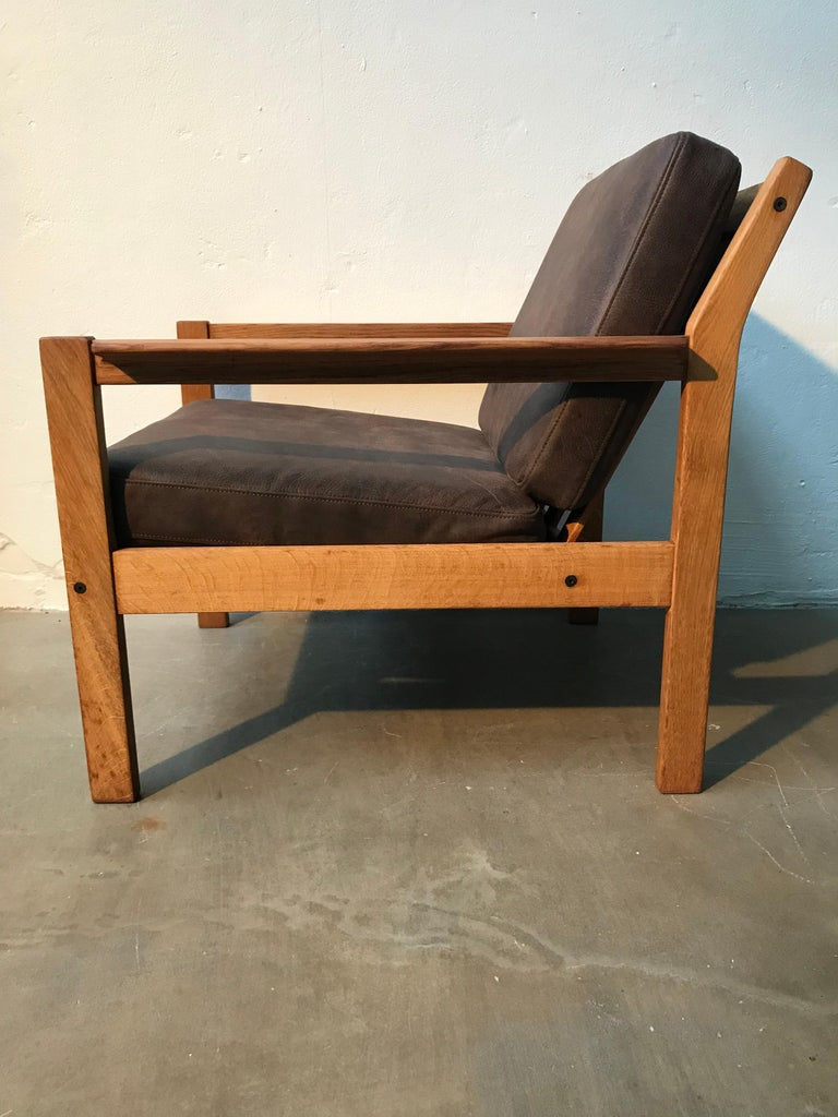 2 Vintage Oak Easy Chairs by Erik Wørts for Fdb of Denmark in Brown Leather For Sale 10