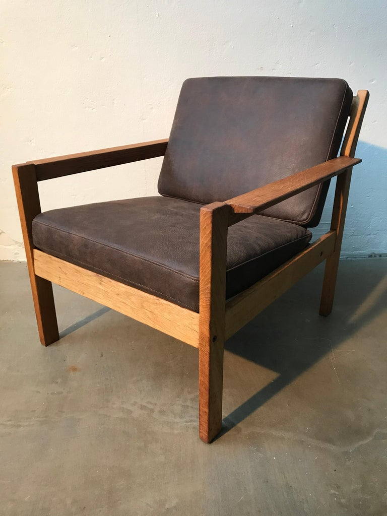Mid-Century Modern 2 Vintage Oak Easy Chairs by Erik Wørts for Fdb of Denmark in Brown Leather For Sale
