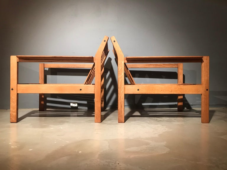 Hand-Crafted 2 Vintage Oak Easy Chairs by Erik Wørts for Fdb of Denmark in Brown Leather For Sale
