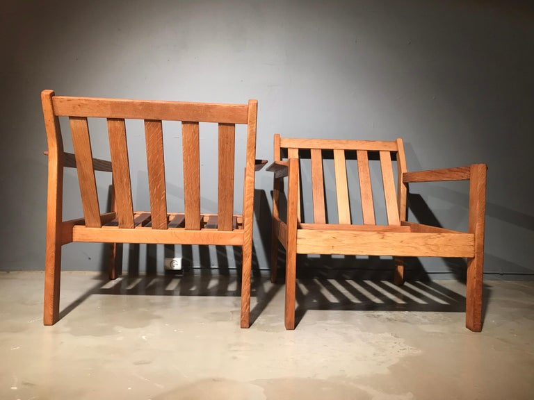 2 Vintage Oak Easy Chairs by Erik Wørts for Fdb of Denmark in Brown Leather In Good Condition For Sale In Søborg, DK