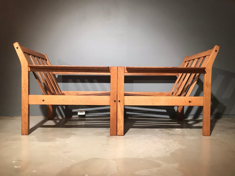 Late 20th Century 2 Vintage Oak Easy Chairs by Erik Wørts for Fdb of Denmark in Brown Leather For Sale