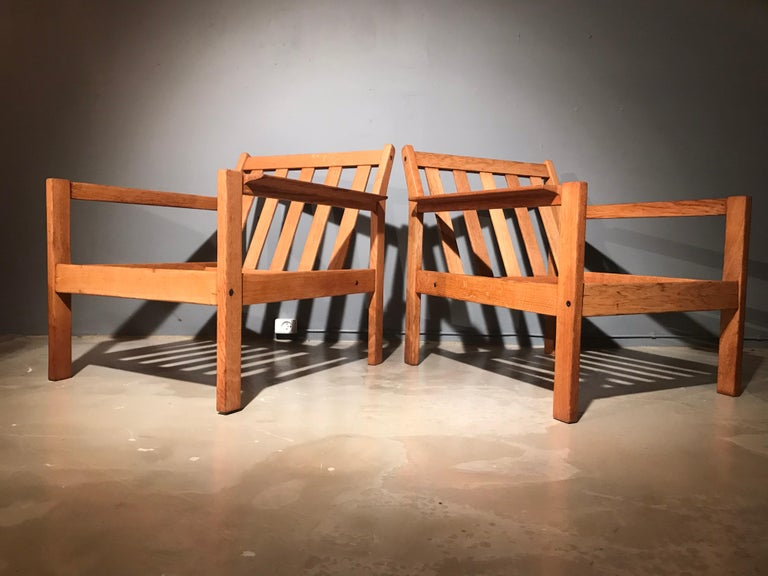 2 Vintage Oak Easy Chairs by Erik Wørts for Fdb of Denmark in Brown Leather For Sale 1