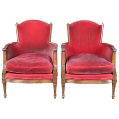 2 Vintage Red French Provincial Walnut Club Arm Library Accent Chairs Louis XV