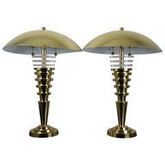 2 Vintage Regency Brass Acrylic MCM Lucite Table Lamps Charles Hollis Jones Pair
