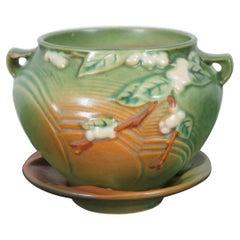 2 Vintage Roseville Pottery IJ-4 Fern Green Snowberry Planter Vase & Dish