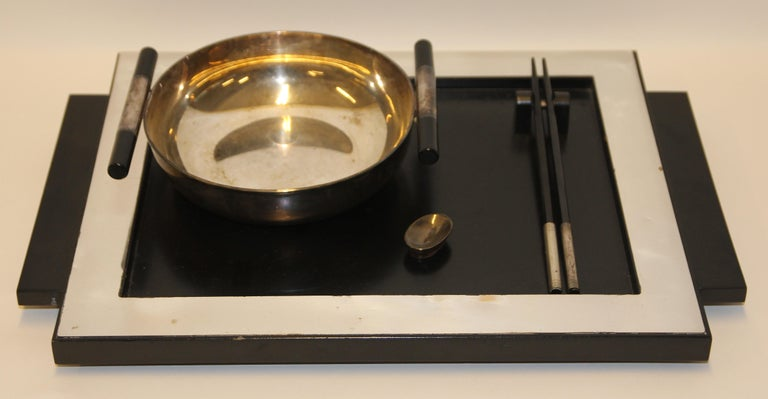 2 Vintage Dining, Serving, Food Tray, Sushi, Japan, Asian Art, Sterling Silver In Fair Condition For Sale In Berlin, DE