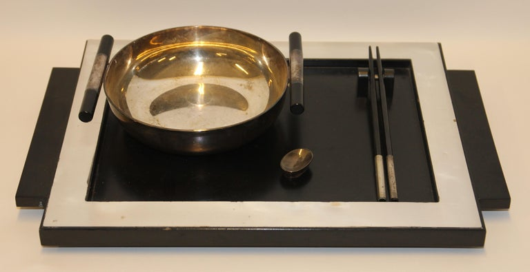 20th Century 2 Vintage Dining, Serving, Food Tray, Sushi, Japan, Asian Art, Sterling Silver For Sale