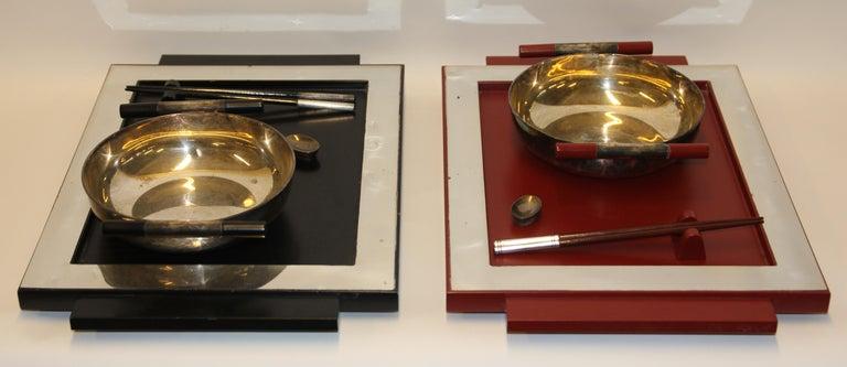 2 Vintage Dining, Serving, Food Tray, Sushi, Japan, Asian Art, Sterling Silver For Sale 2