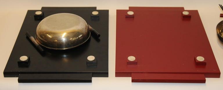 2 Vintage Dining, Serving, Food Tray, Sushi, Japan, Asian Art, Sterling Silver For Sale 3