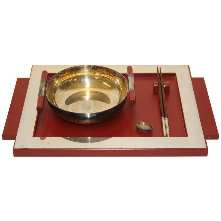 2 Vintage Dining, Serving, Food Tray, Sushi, Japan, Asian Art, Sterling Silver For Sale