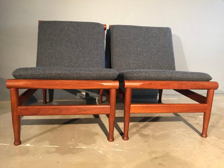 2 Vintage Teak Kai Lyngfeldt Larsen Easy Chairs Model 501 by Søborg Furniture For Sale 7