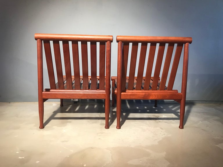 A stunning and rare vintage pair of Kai Lyngfeldt Larsen easy chairs model 501 also known as the Japan chair and made by Søborg Møbler in Søborg Denmark (my town) These chairs originally from a government building are in fantastic original condition