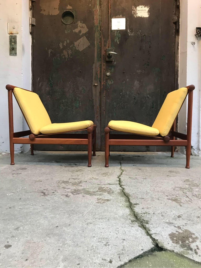 Mid-Century Modern 2 Vintage Teak Kai Lyngfeldt Larsen Easy Chairs Model 501 by Søborg Furniture For Sale