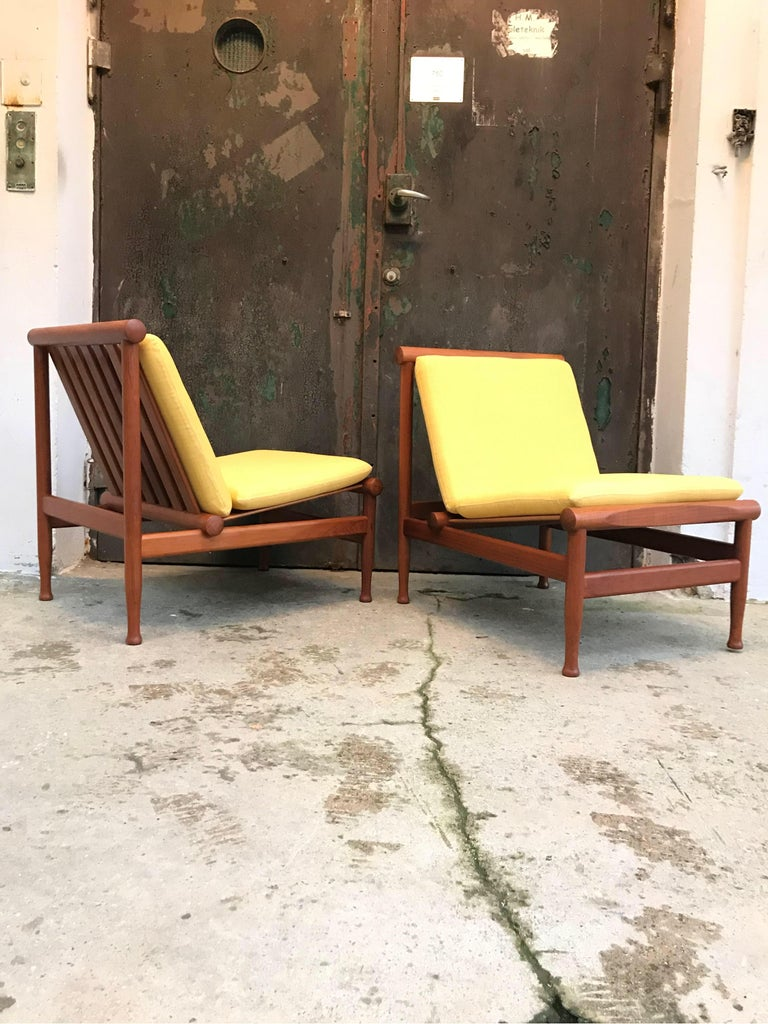 Hand-Crafted 2 Vintage Teak Kai Lyngfeldt Larsen Easy Chairs Model 501 by Søborg Furniture For Sale