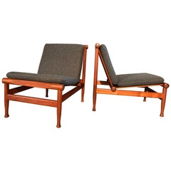 2 Vintage Teak Kai Lyngfeldt Larsen Easy Chairs Model 501 by Søborg Furniture