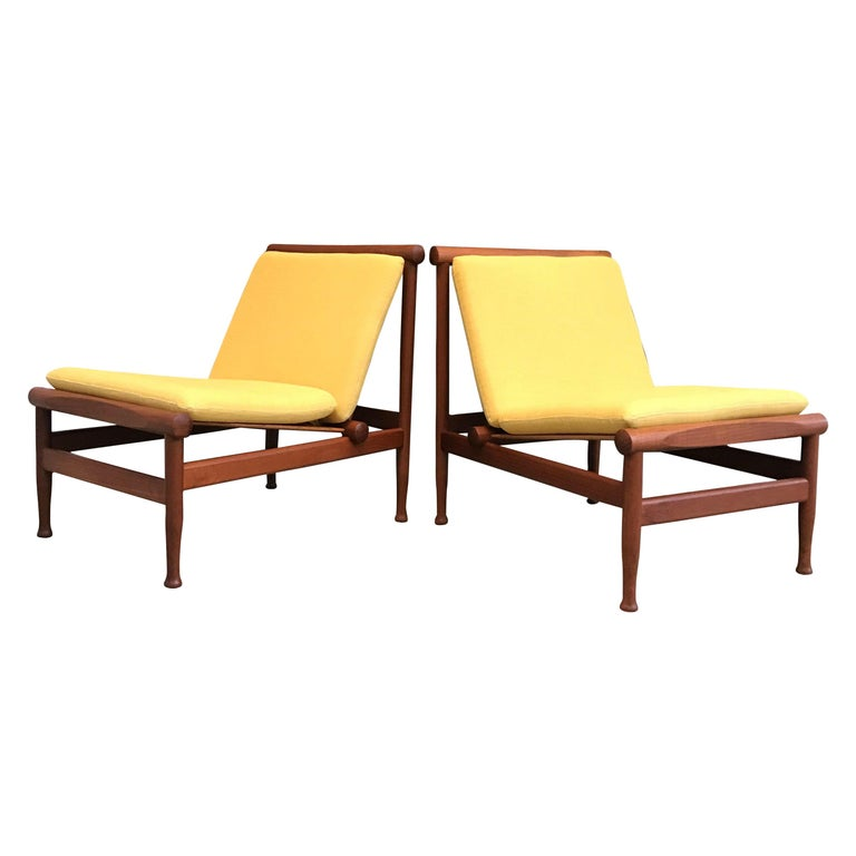 2 Vintage Teak Kai Lyngfeldt Larsen Easy Chairs Model 501 by Søborg Furniture For Sale