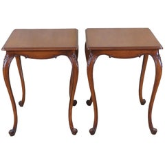 2 Vintage Walnut French Country Side End Accent Tables Provincial Nightstands