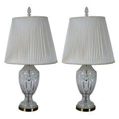 2 Vintage Waterford Cut Crystal & Brass 7575 Lismore Table Lamp Pair