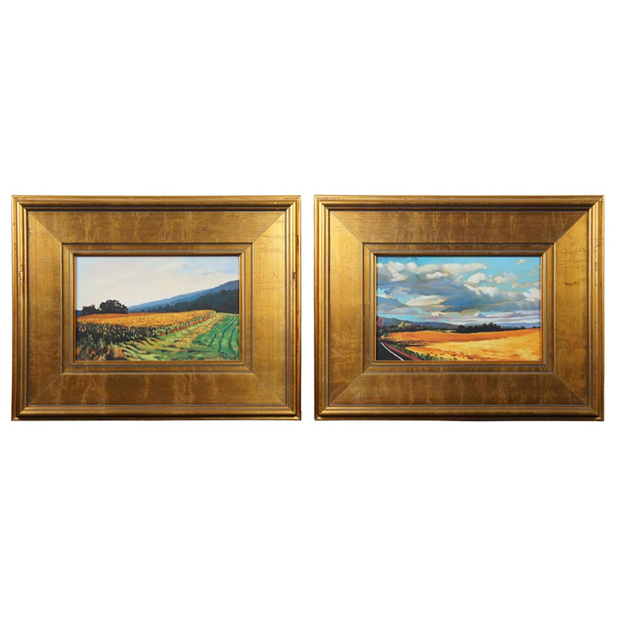 2 Virginia Landscape Field of Wheat Oil Paintings on Canvas Signed Gold Frame