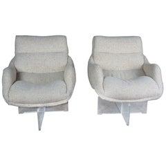 2 Vladimir Kagan 1968 Cosmos Lounge Chairs Lucite Swivel Wool Mid-Century Modern