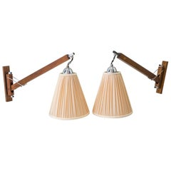 2 Wall Lamps Almost Same Teakwood and Chrome Parts 'Almost Same Lamps', 1950s