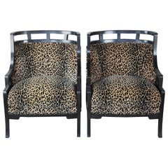 2 Wallis Simpson Cheetah Barrel Club Lounge Chairs Jay Spectre for Century MCM