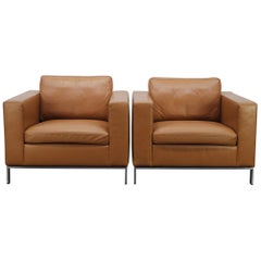 "2 Walter Knoll ""Foster 503.10"" Armchairs in Tan-Brown Leather by Norman Foster"