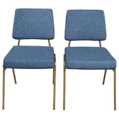 2 West Elm Heathered Blue Wire Frame Dining Accent Chairs Williams Sonoma MCM