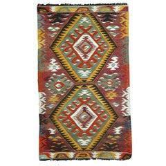 Tribal Mid-20th Century Hand Knotted Geometric Colorful Turkish Kilim