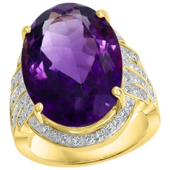 20 Carat Amethyst and 1 Carat Diamond Cocktail Ring in 14 Karat Yellow Gold