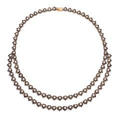 20 Carat Antique Edwardian Style 2-Row Rivera Necklace with Diamond