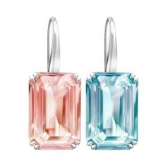 20 Carat Blue Aquamarine Pink Morganite 14 Karat White Gold Earrings