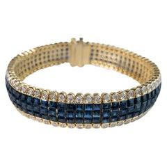 20 Carat Blue Sapphire and 4 Carat Diamond Invisible Set Bracelet in 18K Gold