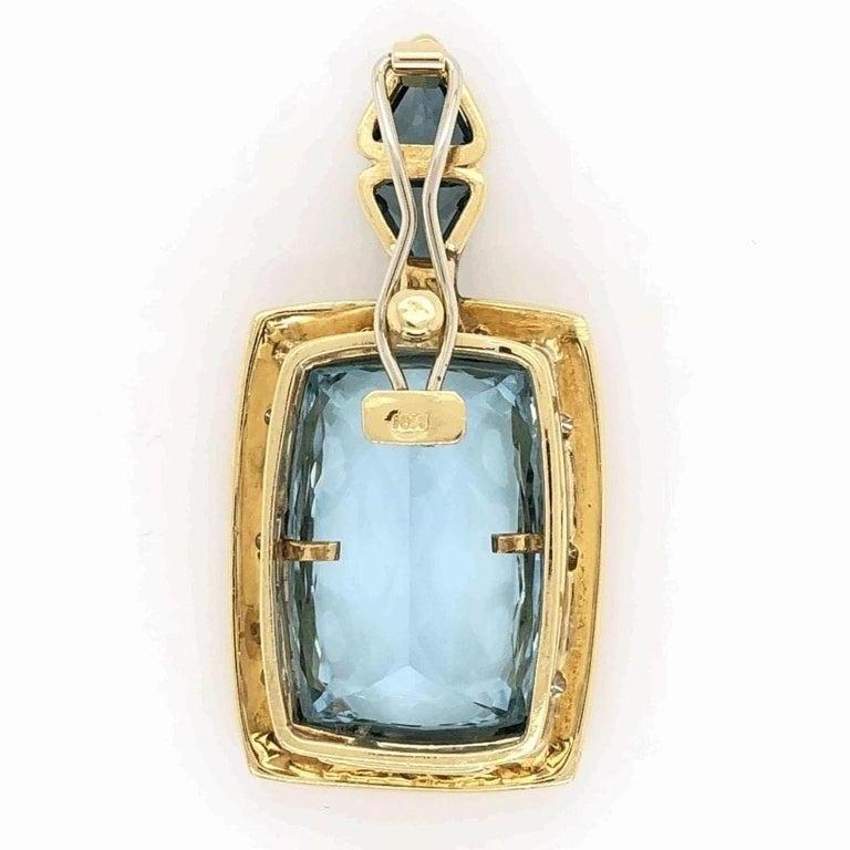 Modernist 20 Carat Blue Topaz Gemstone & Diamond Gold Pendant Enhancer Fine Estate Jewelry For Sale