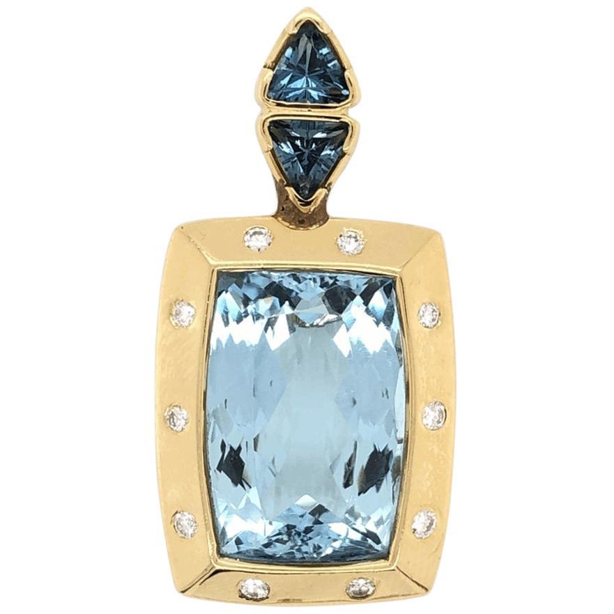 20 Carat Blue Topaz Gemstone & Diamond Gold Pendant Enhancer Fine Estate Jewelry