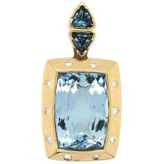 20 Carat Blue Topaz Gemstone & Diamond Gold Pendant Enhancer Fine Estate Jewelry